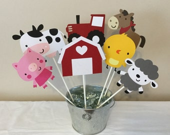 7 Piece on the farm Centerpieces Farm Decorations red tractor