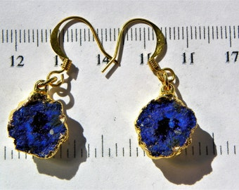 Pair - Azurite Blueberry Nodule earrings (AZU007) measures 10mm x 6mm each Total Weight 3.4 grams and plated in 22 caret gold