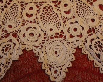 Antique Lace Trim Irish Crochet Collar and Cuffs Victorian Dress Doll Bear