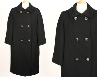 vintage 1960s black coat • stylized collar and ornate rhinestone buttons