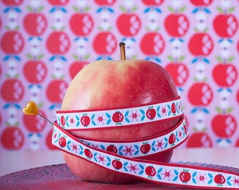 Jacquard Ribbon, Apple Ribbon,  Farbenmix woven sweet apple webband,  Sewing Tape, 1 metre