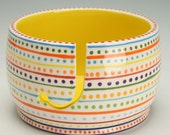 Ceramic Yarn Bowl for Knitting & Crochet, Knit Happy, Fiber Twine Pottery Yarn Bowl, Stripe and Dots, Interior Bright Yellow