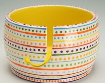 Ceramic Yarn Bowl for Knitting & Crochet, Knit Happy, Fiber Twine Pottery Yarn Bowl, Stripe and Dots, Interior Bright Yellow