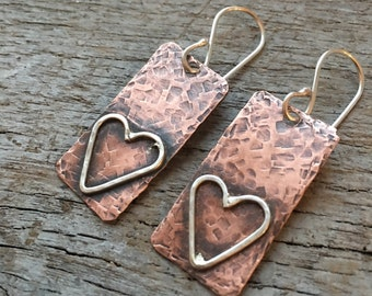 Mixed Metal Hammered Rustic Heart Dangle Earrings with Sterling Silver ans Copper
