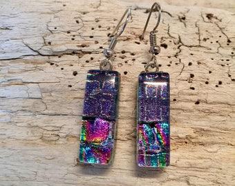 Dichroic glass, earrings, glass,handmade dichroic glass, fused glass, fused glass jewelry, dichroic glass, Dangle Dichroic Glass earrings
