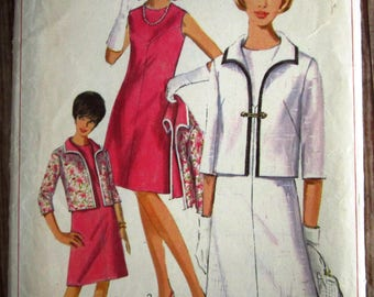 Vintage 1960s Misses One-Piece, Sleeveless, A-line Dress and Jacket Size 12 Simplicity Pattern 6431 Cut/Complete