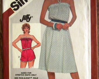 Vintage 1980s Easy to Sew Misses Pullover Dress or Pull-On Romper Size 14 Simplicity Pattern 5925 Cut/Complete