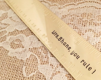 Personalized ruler teacher gift hand stamped brass golden