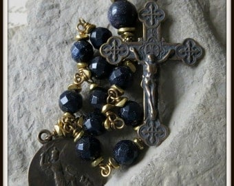 Blue Goldstone St. Michael Single Decade Rosary, Wire Wrapped in Bronze