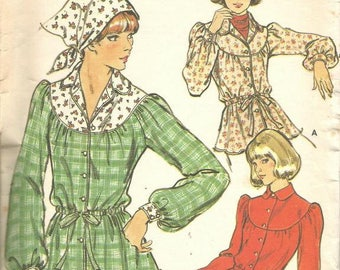 1970s Long Sleeved Blouse and Scarf Boho Peasant Style Butterick 4384 Size 12 Bust 34 Women's Vintage Sewing Pattern