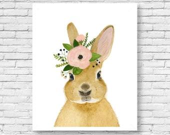 Watercolor rabbit II, rabbit painting, Woodland Nursery, Animal Paintings, Deer, Animal Wall Art, Childrens Wall Decor, Kids Art, bunny