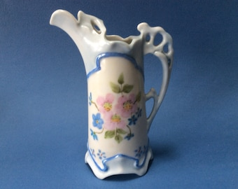 19th Century FRENCH Hand Painted Pink and Blue Dog Roses Porcelain Creamer. Excellent.