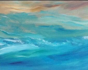 flowing Water abstract ocean sea storm original art painting color field