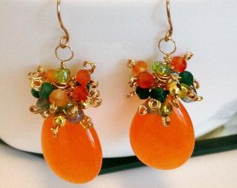 """Vibrant Tangerine Orange Jade Gemstone Cluster Earrings Tropical Earrings Candy Jade Earrings 2"""" - Greens"""