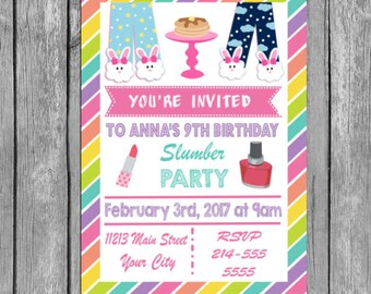 Slumber Party Invitation, Slumber party invites, Slumber party invite, Slumber party, Slumber Party Invitations, slumber party, invitation