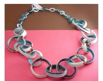 RUSH Long Acrylic Resin Big Links Chain Necklace, Turquoise & White -Gold Tone Hardware