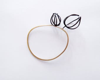 Wide wireframed physalis bangle, abstracted form bangle