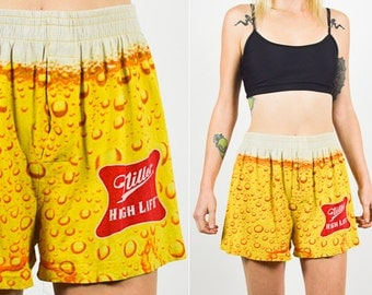 MILLER LITE SHORTS 80's  High Waist Boxers. Miller High Life. Photographic Pattern Shorts. 80's 90's Short. Hipster Grunge Size M