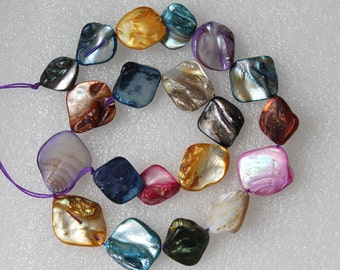 Full Strand Mother of Pearl Shell Freeform Square Multicolor AB Nugget Beads 20 Pcs