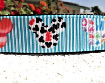"Newest Dog Collar,Disney Mickey, Bright 1"" wide Quick Release adjustable - no martingale limited, incl neck measurement"