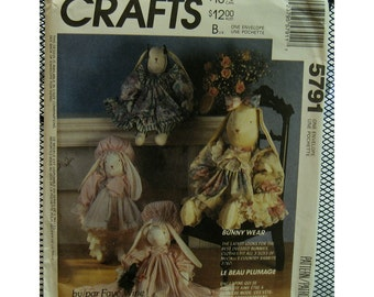 "Country Bunny Clothing Pattern, Ruffle Dresses, Bonnets, Pantaloons - Faye Wine, McCalls  5791 UNCUT Fits Dolls 14"" 20"" 25"""