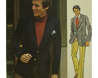 "Pierre Cardin Men's Jacket Pattern, Fitted Pants, Lined Blazer, Patch Pockets, Notched Collar, Jeans, Vogue Paris Original No. 2737 Size 38"""