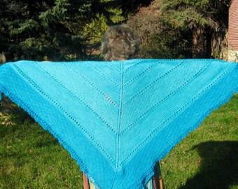 Turquoise wool square shawl