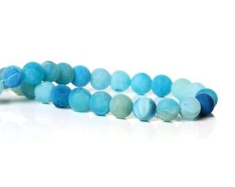 10 Agate Light Blue Beads 8mm