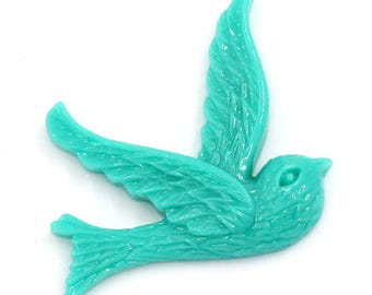 4 Green Blue Bird in Flight Cabochons 26mm