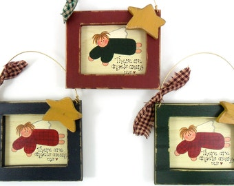 """Angels Among Us Wood Ornament Red, Green or Blue  4 1/2"""" High SELECT COLOR"""