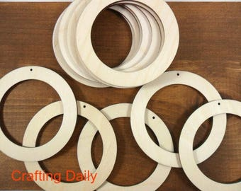 """Wood Circle Earring Blanks Rings 2 3/4"""" x 1/2"""" x 1/8"""" Laser Cut Unfinished Wood Jewelry Shapes - 20 Pieces"""