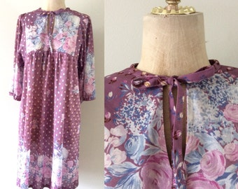 1970's Dusty Purple Polyester Floral Shift Dress w/ Ascot Bow Vintage Dress Size Small Medium by Maeberry Vintage