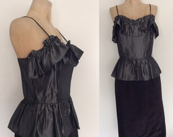 1980's Acetate Peplum Cocktail Party Dress Size XS Small by Maeberry Vintage