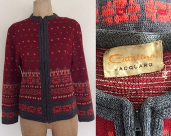 1970's Catalina Jacquard Printed Striped Wool Cardigan Sweater Size Large by Maeberry Vintage