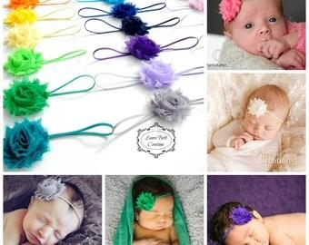 Baby Headband, You Pick 15, MINI Shabby Chic Rose Headband Set, Infant Headband, Newborn Headband, Children's Headband, Baby Girl Photo Prop