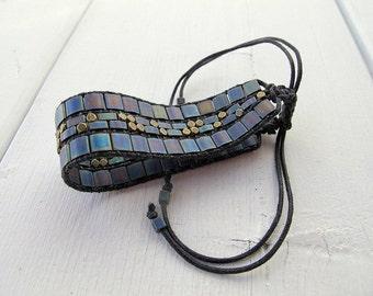 Matte Tila Bead Bracelet, Bohemian Beaded Wristband,  Woven Miyuki Glass Bracelet, Vegan Friendly Jewelry, Boho Hippie Chic