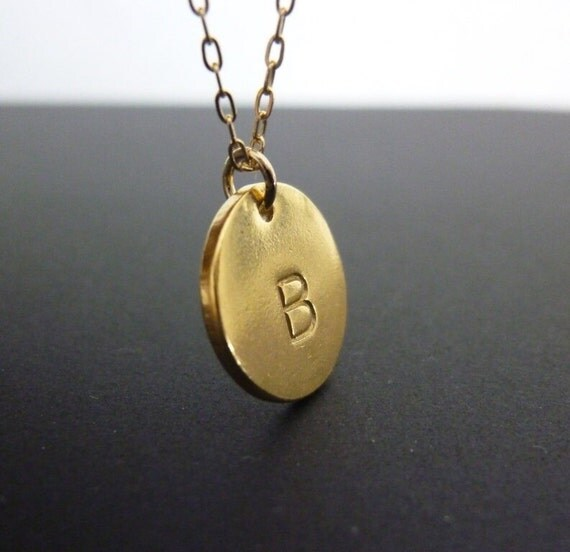 Gold Initial Disc Necklace,Gold Initial Necklace,Gold Initial Charm,Personalized Gold Necklace,Hand Stamped Disc Necklace,Gift For Her