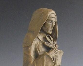 St. Hildegard of Bingen, Patron of Gardeners, Musicians, and Women Physicians; Handmade Statue
