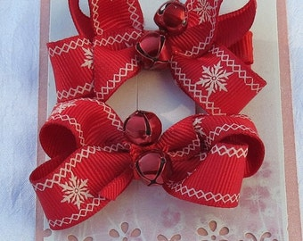 Mini Boutique Christmas Hairbow Clip with Bells