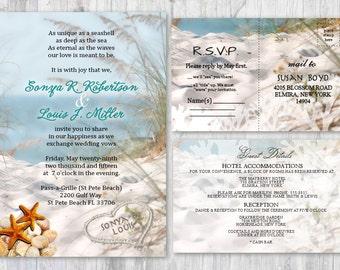 Beach Wedding Invitations, Seashell Wedding Invitation, Beach Themed Invitation, Wedding Starfish Invitation Sand Sea Wedding Invitations