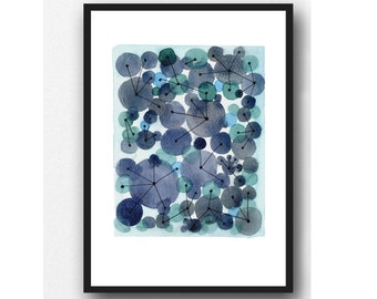 Constellation, abstract watercolor painting with indigo Blue circles, watercolor art print, connections geometric circles