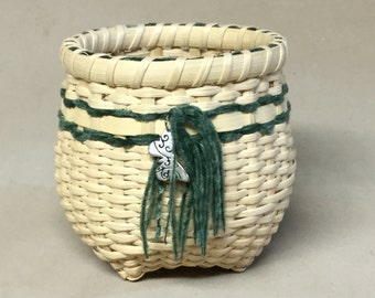 Cute Little Hand Woven Basket,  Green Yarn with Silver Colored Butterfly Shaped Charm