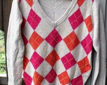 Vintage Gap Medium Sweater/ Cotton, Nylon V-Neck Sweater/ Retro Gap Pullover/ Shabbyfab Thrift