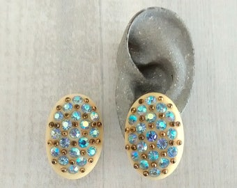 Vintage Celluloid Blue Aurora Rhinestone Clip On Earrings, Cream Celluloid, Inset Rhinestones, Gold Tone Studs, Oval Shape