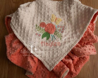 Shabby Chic Personalized Minky Baby Blanket, Floral Appliqued Blanket, Shabby Chic Minky Blanket, Personalized Baby Gift, Baby Girl Blanket