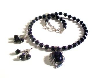 Blue Stone Pendant Necklace, Blue Stone Necklace Set, Statement Necklace, 2 Piece Set