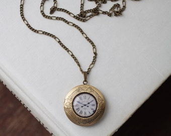 Vintage Clock Face Locket - Long Chain Locket Necklace