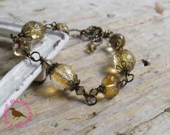 Citrine Bracelet, Cognac Vintage Bronze Bracelet, Adjustable Citrine Gemstone Bracelet, Rosary Style Wire by MagpieMadnessJewelry for Etsy