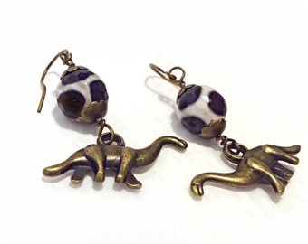 Little Creatures! Dinosaurs with Faceted Giraffe Agate Gemstone Earrings! SO SWEET!
