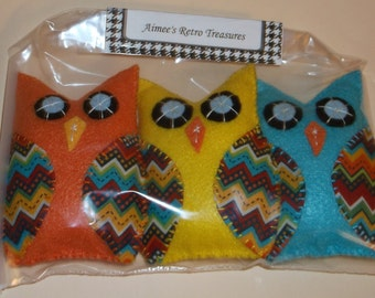 3 Hand Crafted Felt Owl Ornaments Ornies -  Orange Yellow Blue